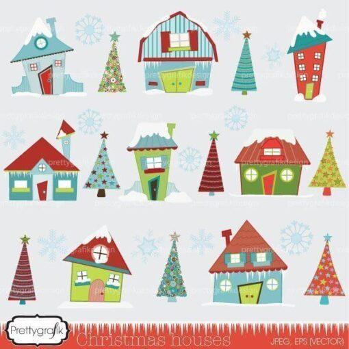 christmas house clipart