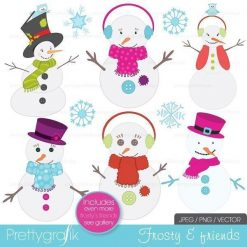snowman clipart, commercial use - PGCLPK400