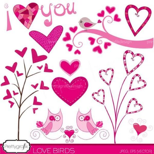 valentine hearts clipart commercial use - PGCLPK446
