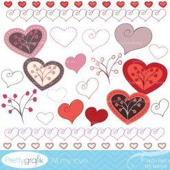 Hearts digital Clipart for commercial use - PGCLPK318