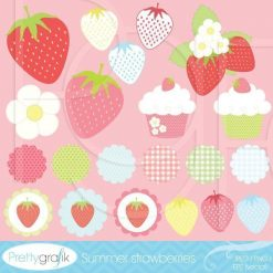 Summer strawberries clipart