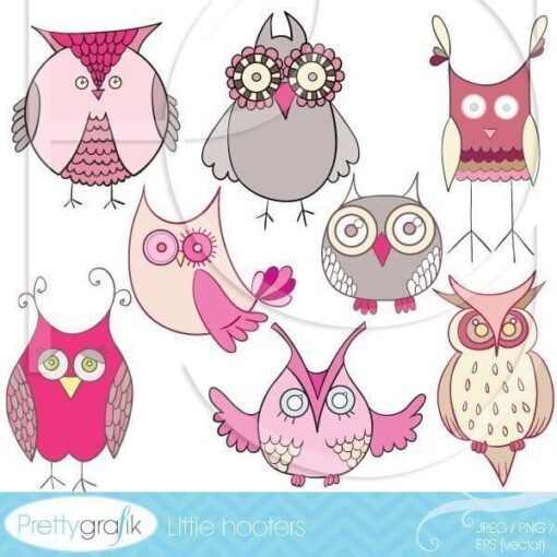 pink owl clipart commercial use - PGCLPK325