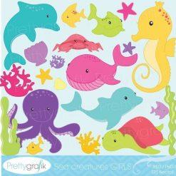Sea animal girls clipart