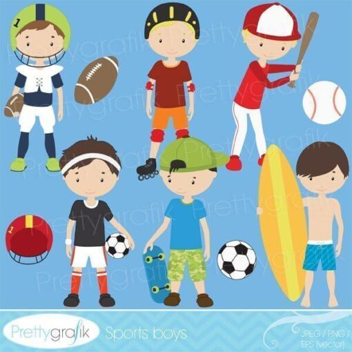 Sports boys clipart