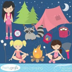 Girls camping clipart
