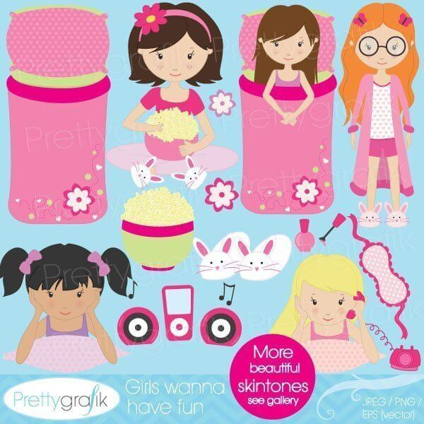 sleepover slumber party clipart scrapbooking commercial use images rh prettygrafik com Pajama Party Clip Art Clip Art Birthday Party