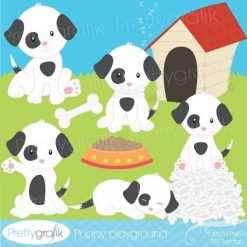 White and black puppy clipart