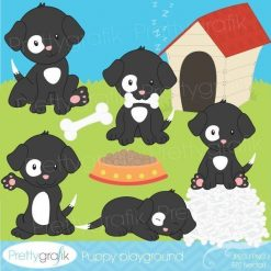 Black and white puppy clipart