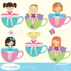 Tea party girl clipart