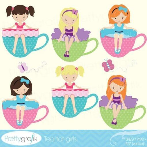 Tea party girl clipart