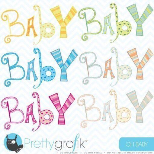 Baby alphabet letters clipart