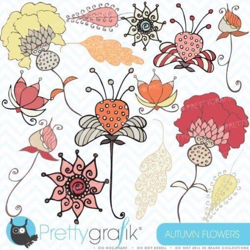 Autumn flowers clipart
