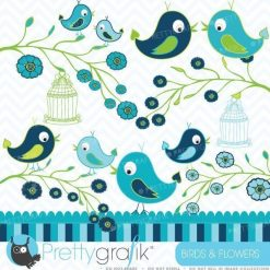 Birds and Flowers clipart