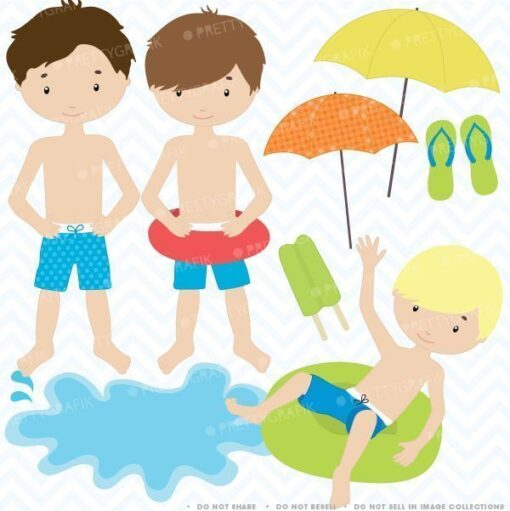 Pool party boys clipart