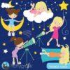 Star gazing girls clipart