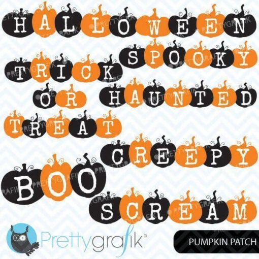 Halloween pumpkin word clipart