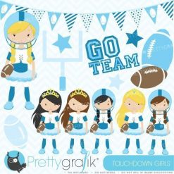 Touchdown football girls clipart