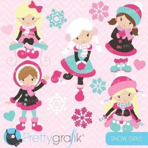 Winter girls clipart