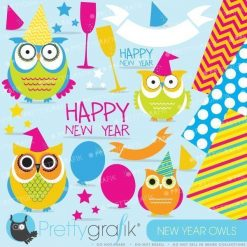 New years owls clipart