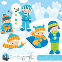 Snow fun boys clipart