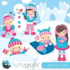 Snow fun girls clipart