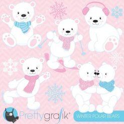 Winter polar bear clipart