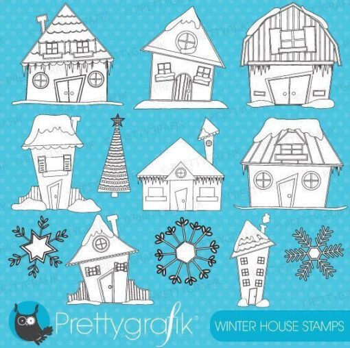 Winter house stamps