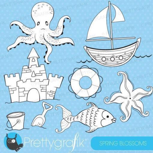 Beach nautical stamp