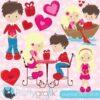 Valentine kids clipart