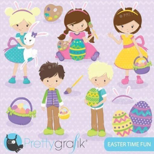 Easter kids clipart