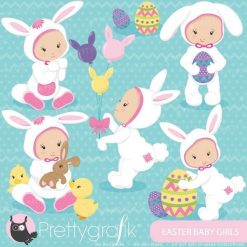 Easter baby girl clipart