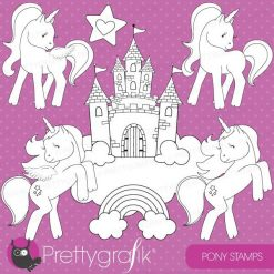 Unicorn pony stamps