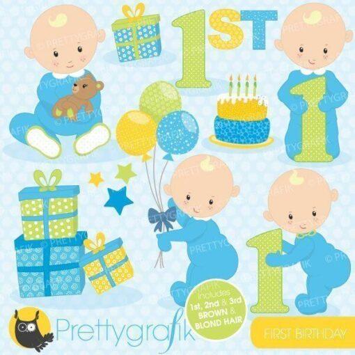 First birthday boy clipart