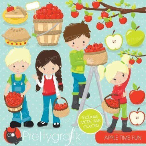Apple picking kids clipart