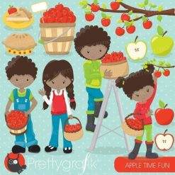 Apple picking kids clipart