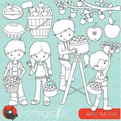 Apple picking kids stamps