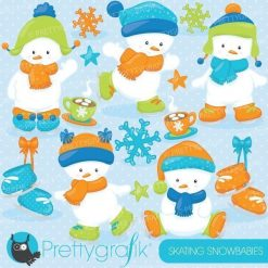 Ice skating snowman clipart