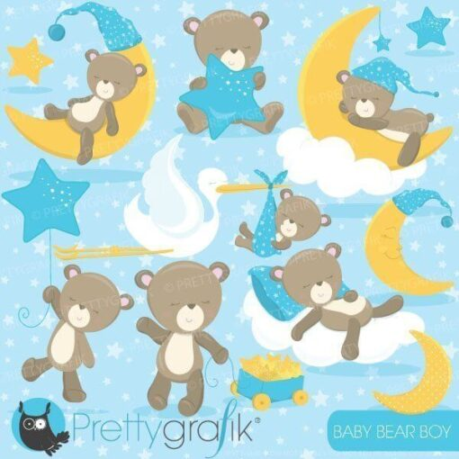 Baby bear boy clipart