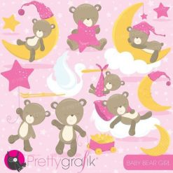 Baby bear girl clipart