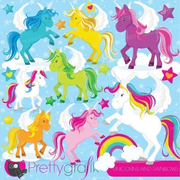 Unicorns rainbows clipart