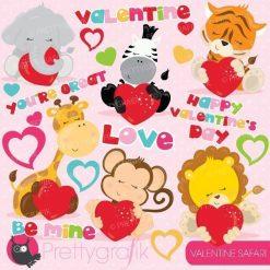 Safari valentine clipart