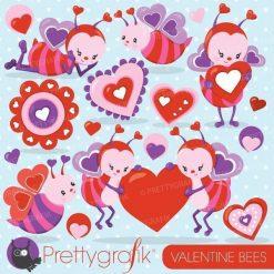 Valentine bee clipart