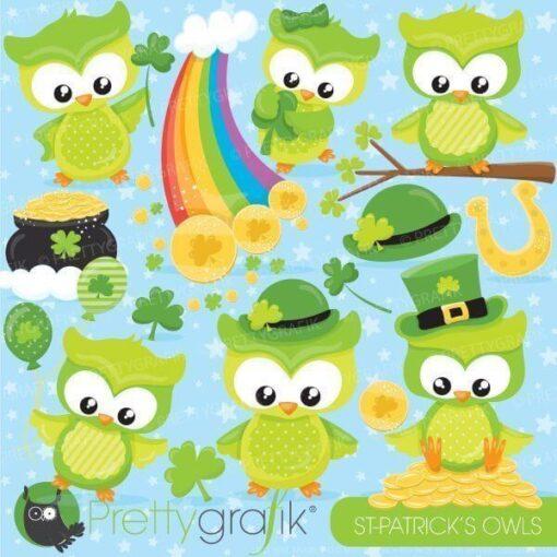 St-Patrick's owl clipart
