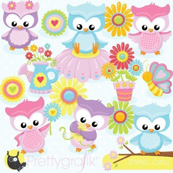 Spring owls clipart