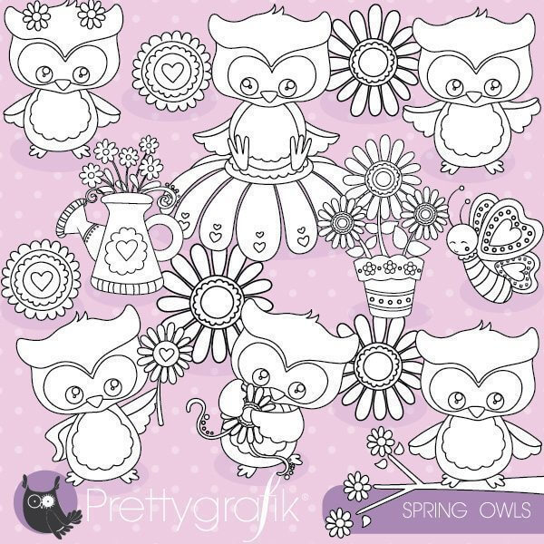 Spring owl stamps