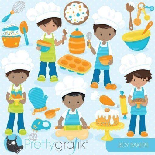 Baking boys clipart