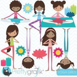 Yoga girls clipart