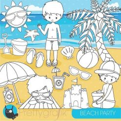 Beach party stamps