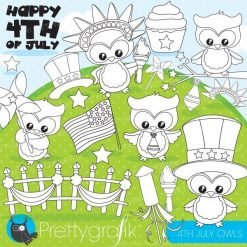 4th of July owl stamps