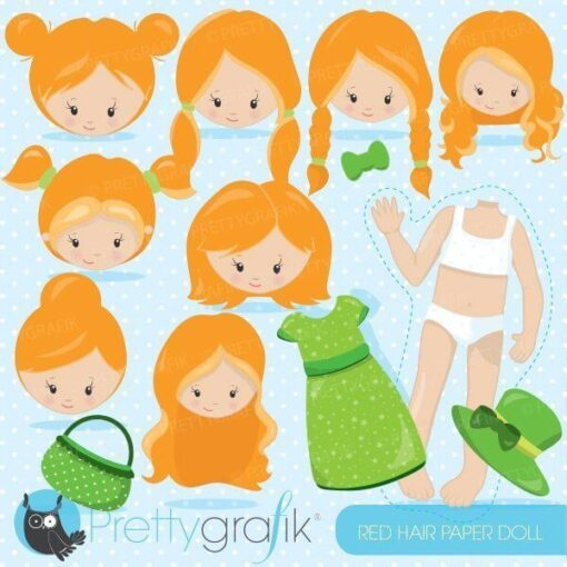 Red hair paper doll clipart